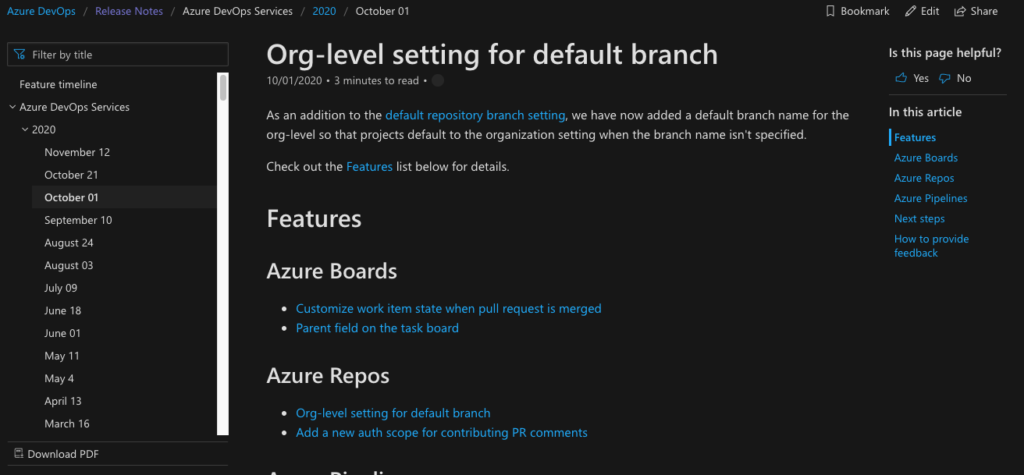 Release notes of Microsoft Azure DevOps - a good example